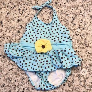 🎉 5/$15 Gymboree Blue/brown polka dot swim suit
